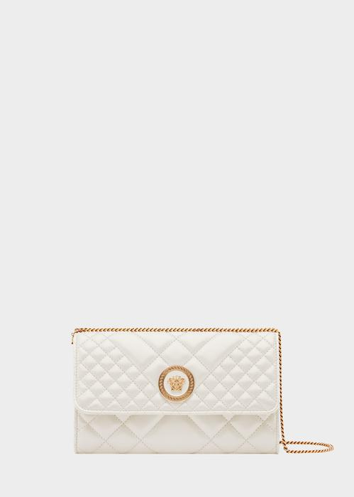 b9e354af45 Versace Quilted Medusa Evening Bag In White