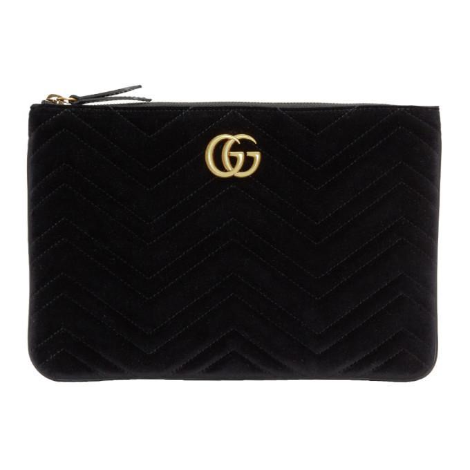 7c1e9e5097b Gucci Black Velvet Gg Marmont 2.0 Pouch In 1000 Black
