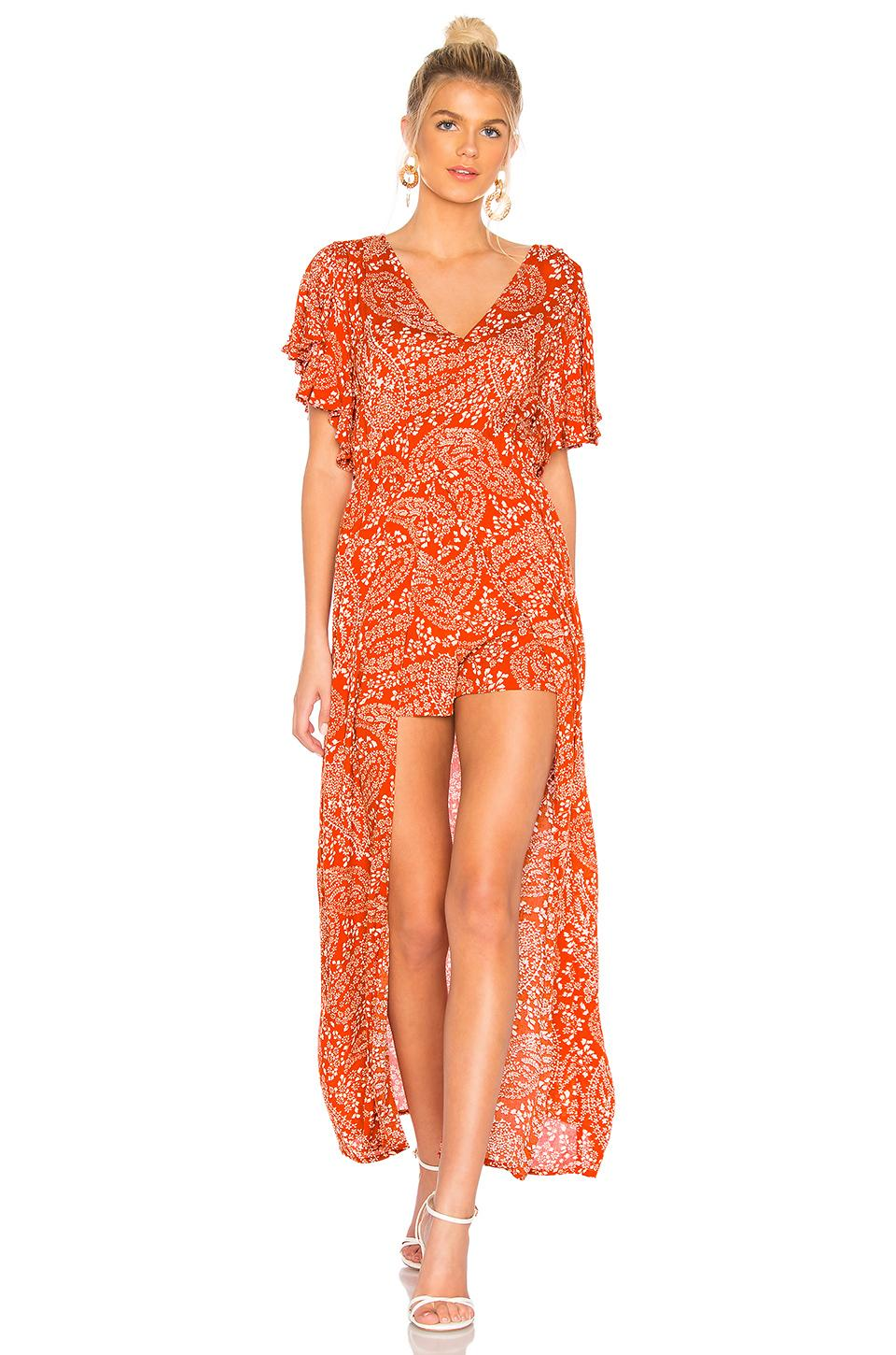 3c20c26d90b1 Bb Dakota Jack By Electric Feels Romper In Burnt Orange