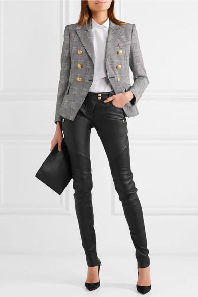 bf6187bc518 Balmain Ribbed Leather Skinny Pants In Black   ModeSens