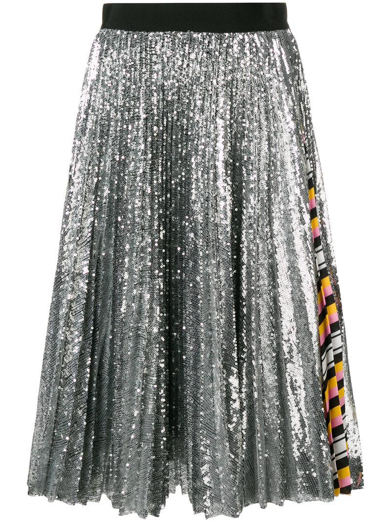 ca5d2cfb7 Msgm Sequins Pleated Midi Skirt With Printed Insert In Metallic ...