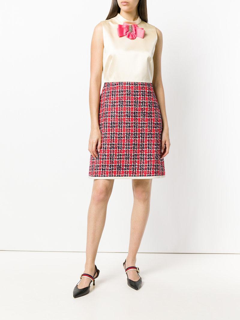 39e73a9d2a Gucci Sleeveless A-Line Dress W/ Tweed Skirt & Satin Bodice In Neutrals