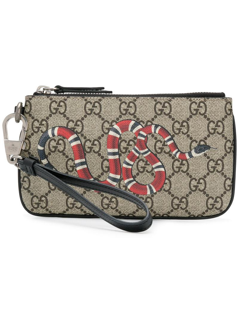 3d943ee64408 Gucci Snake Print Gg Supreme Card Holder - Brown | ModeSens