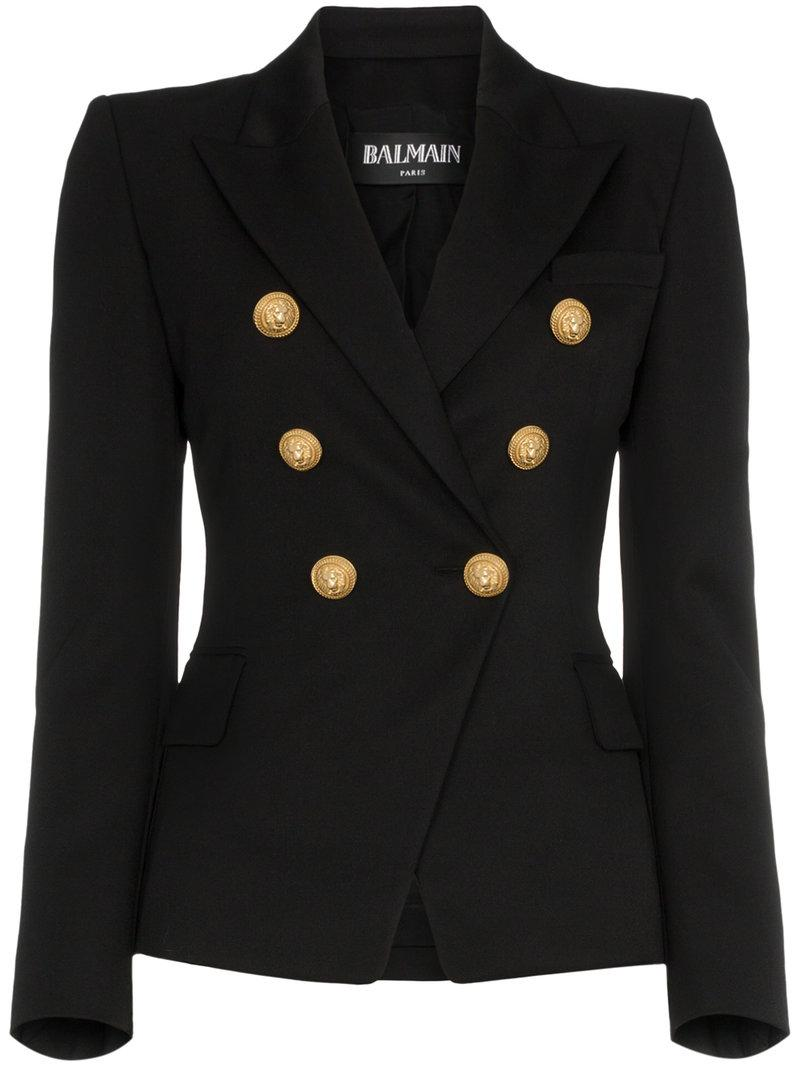 d873fd7d Balmain Double-Breasted Grain De Poudre Wool Blazer In Noir C0100 ...