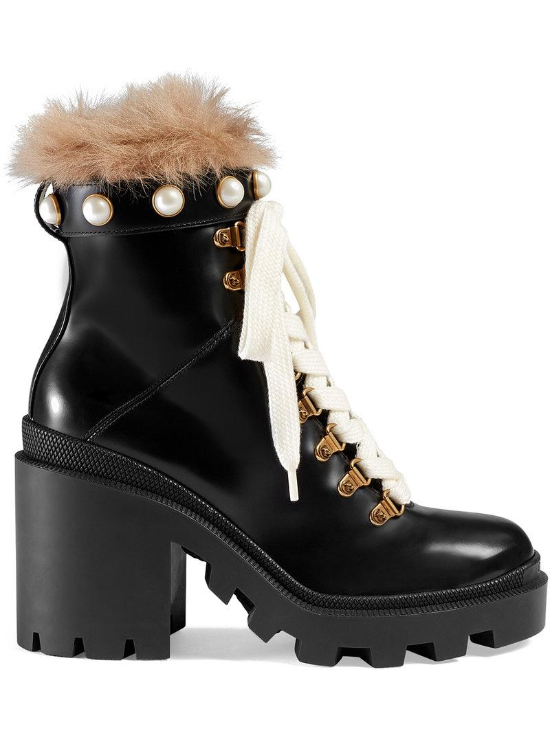 beae2b8f7d1 Gucci Leather Combat Boots With Fur Trim In Black