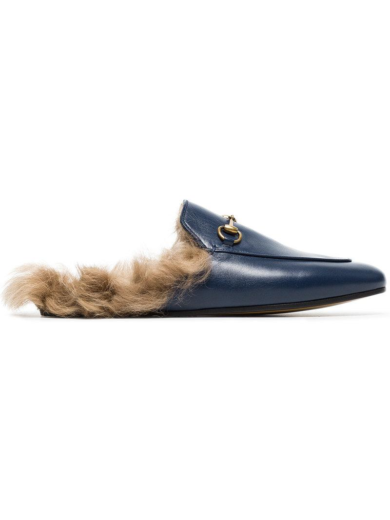 02602fc4094 Gucci Fur-Lined Leather Mule Slippers In Blue
