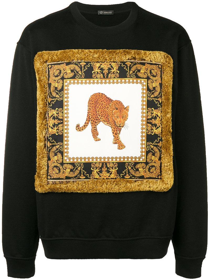 Leopard print Cotton jersey Sweatshirt In Black