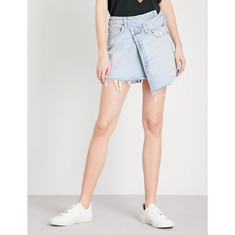 5a1df87fa21f5 Agolde Criss Cross High-Rise Stretch-Denim Mini Skirt In Broken ...