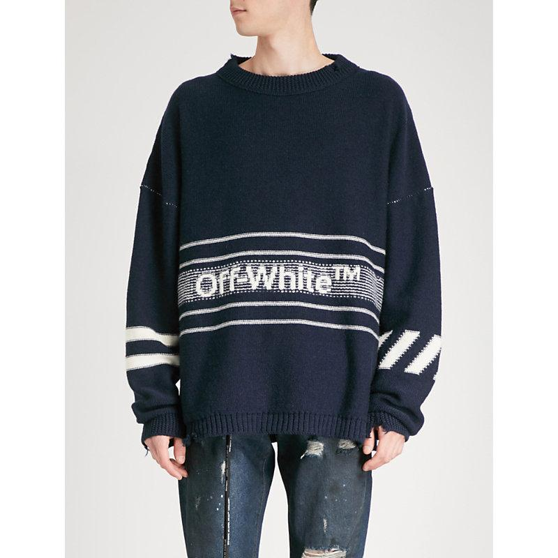 OFF WHITE LOGO EMBROIDERED SWEATER BLUE