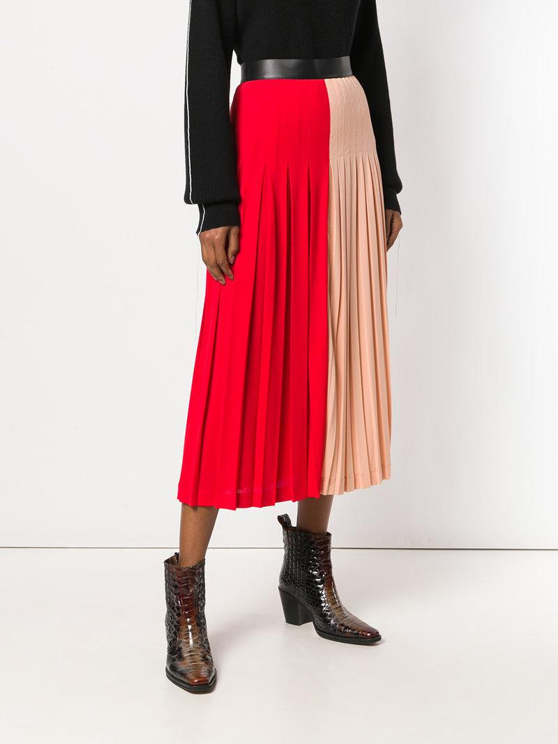 d0e6a0292d Givenchy Color-Block Pleated Stretch-Jersey Midi Skirt In Red | ModeSens