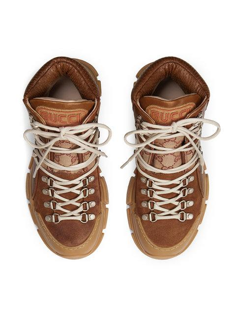 Gucci High-Top Sneakers Flashtreck Canvas Smooth Leather Logo Patch Beige-Combo In 2590 Brown