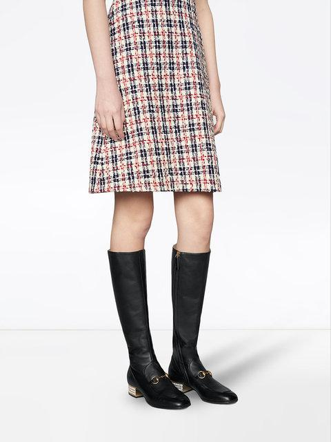 GUCCI HORSEBIT LEATHER KNEE BOOT WITH CRYSTALS