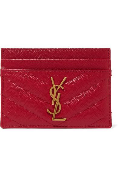 81e166df1a2 Saint Laurent Quilted Textured-Leather Cardholder In Red | ModeSens