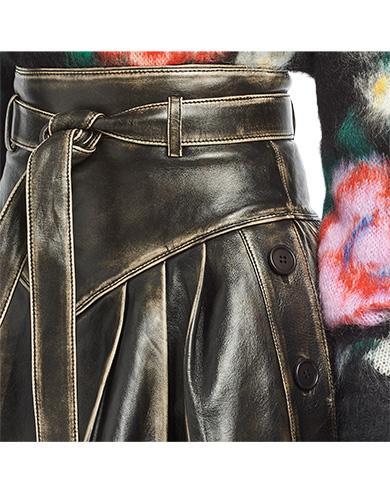ae9ae39a4e6a Miu Miu Distressed-Leather A-Line Skirt In Black   ModeSens