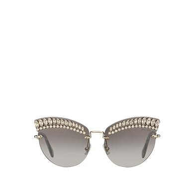 1ff57fe0d852 Miu Miu Scenique Sunglasses With Crystals In Anthracite Gray To Lake Blue  Gradient Lenses With Silver