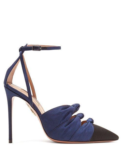 aa869c3b6a39f Aquazzura Mondaine Mid-Heel Grosgrain Ankle-Wrap Pumps In Navy-Blue And  Black