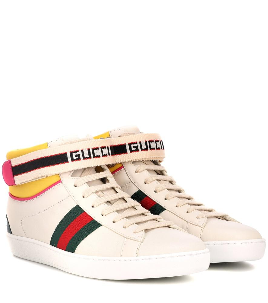 Gucci New Ace High Leather Sneaker With Strap In White