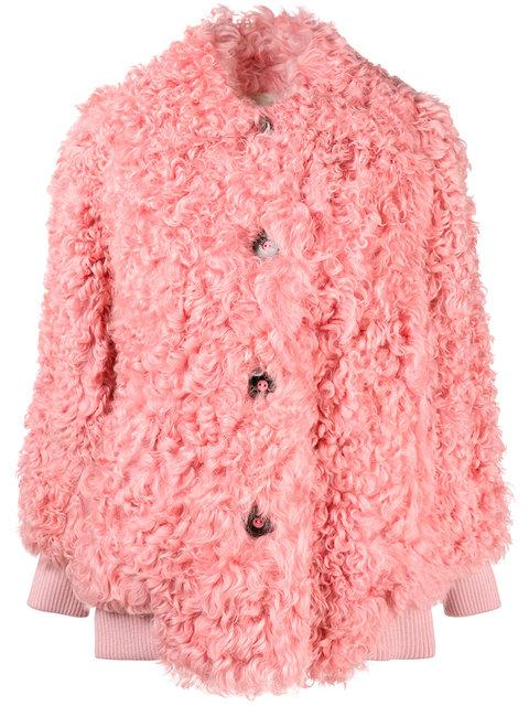 d941ae04f454 Miu Miu Button-Front Shearling Bomber Jacket In Pink