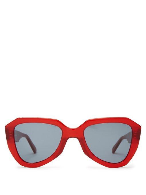 f8df96382903 Celine Eyewear - Aviator Acetate Sunglasses - Womens - Red Multi ...