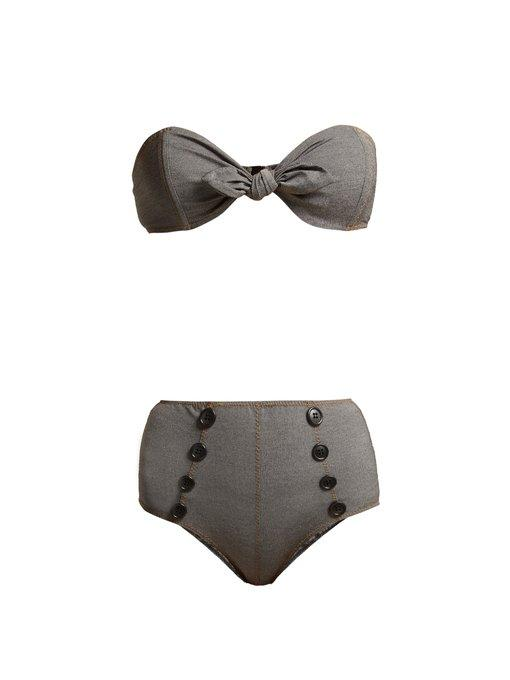 c3573c2da6291 Lisa Marie Fernandez - Poppy Strapless Bandeau Bikini - Womens - Black