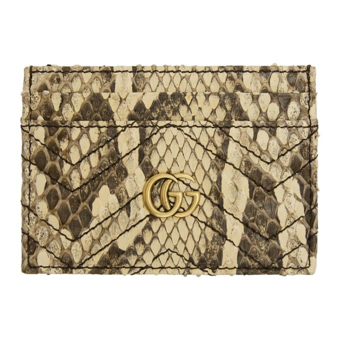 f1ba5b3d0b5a Gucci White Python Gg Marmont 2.0 Card Holder In 9382 Natura | ModeSens