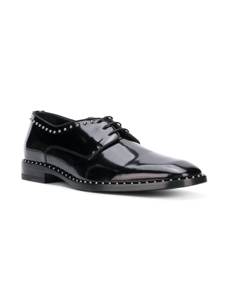 dc6a9d9bf4ac Jimmy Choo Stefan Black Shiny Calf Leather Lace Up Shoes With Pearl Trim