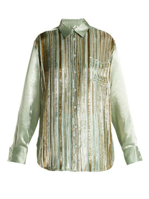 0f5f91cc1bc3be Sies Marjan Sander Velvet-Stripe Silk-Blend Shirt In Light Green ...