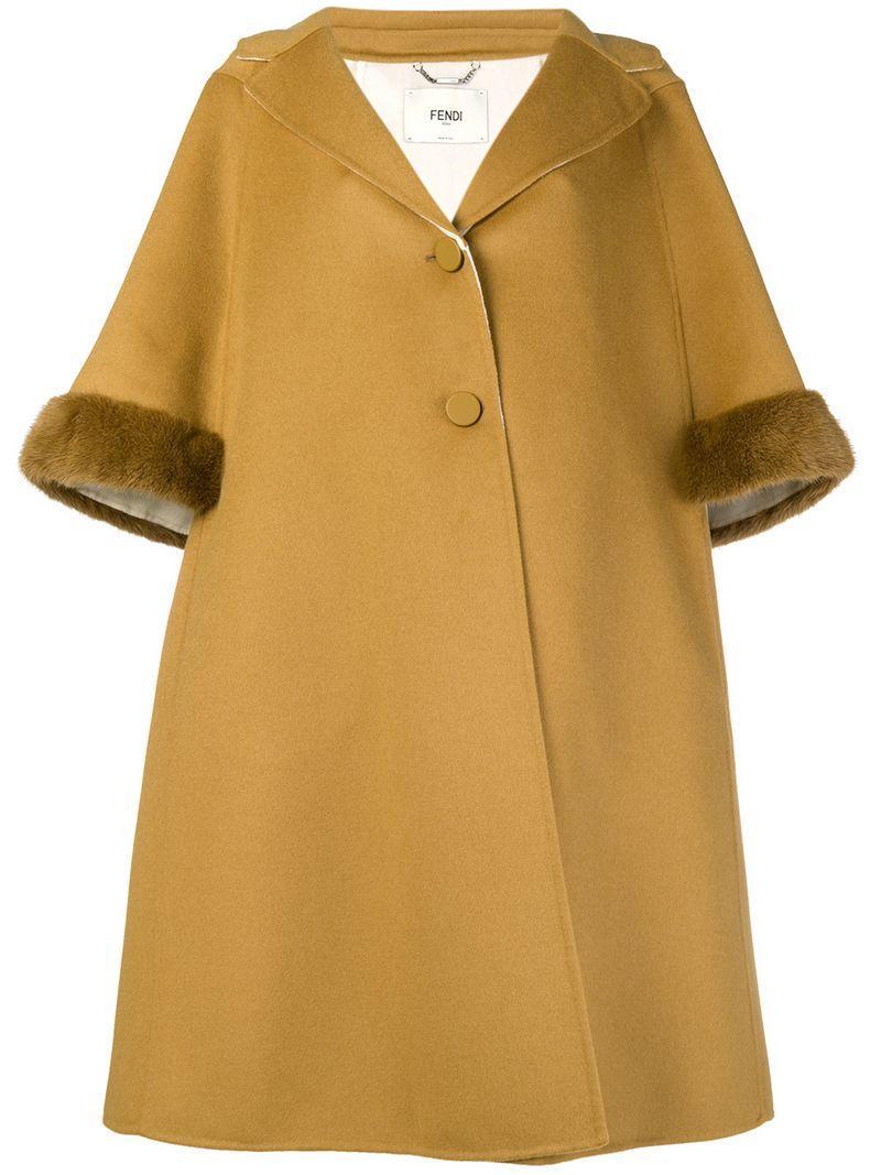 c9c3aa46fe16 Fendi A-Line Cropped Sleeve Coat - Yellow