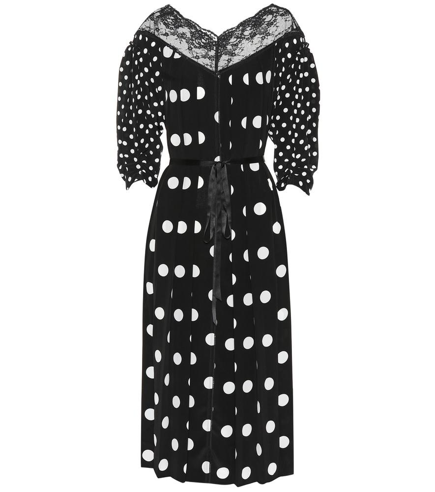 e076d2792eac Marc Jacobs Lace-Trimmed Pleated Polka-Dot Silk Crepe De Chine Midi Dress In