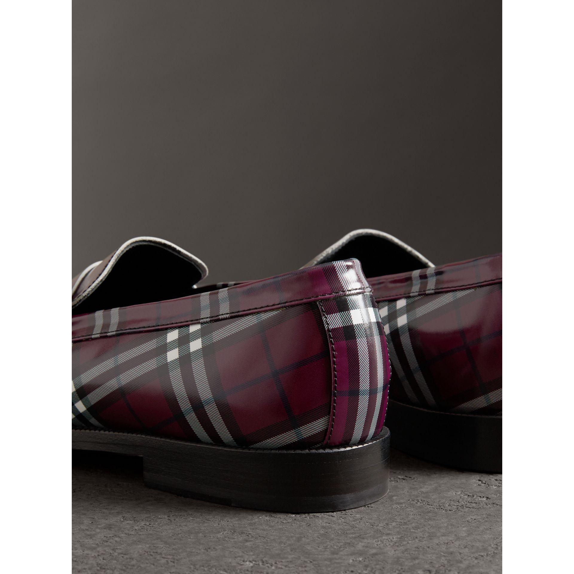 8c3b22ca9 Burberry Gosha X Check Leather Loafers In Claret