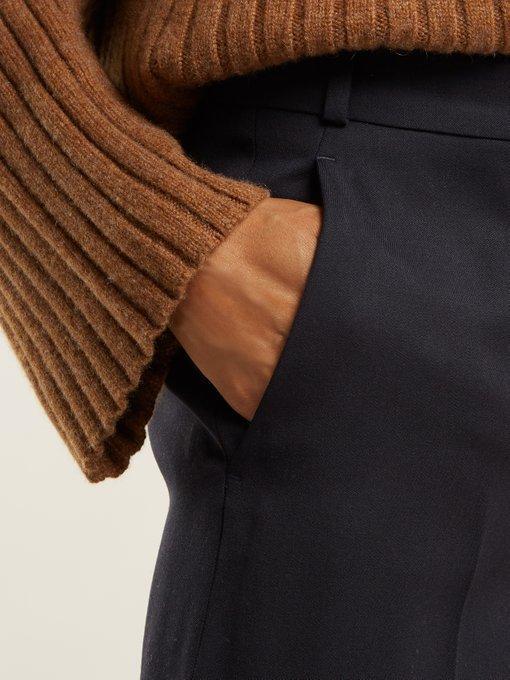 Stella Mccartney Wide-Leg High-Rise Wool Trousers In Navy