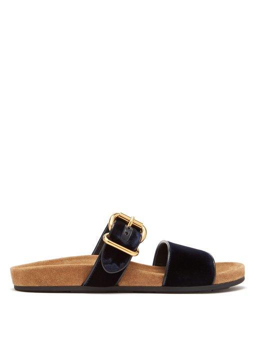 5dfd1138cc2 Prada Velvet Two-Band Flat Slide Sandal In Black