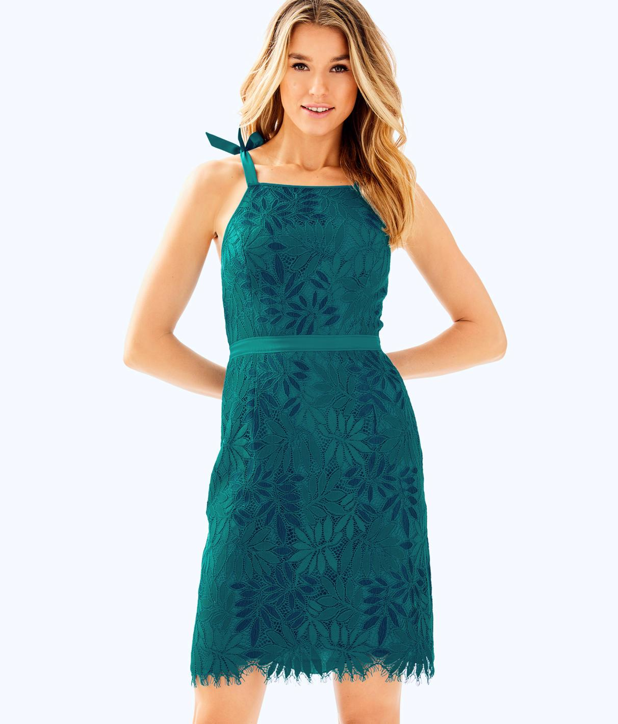 3b78a671d08811 Select Size. Store Status Price. Lilly Pulitzer Kayleigh Lace Sheath Dress  In True Navy Fern Gallery Lace