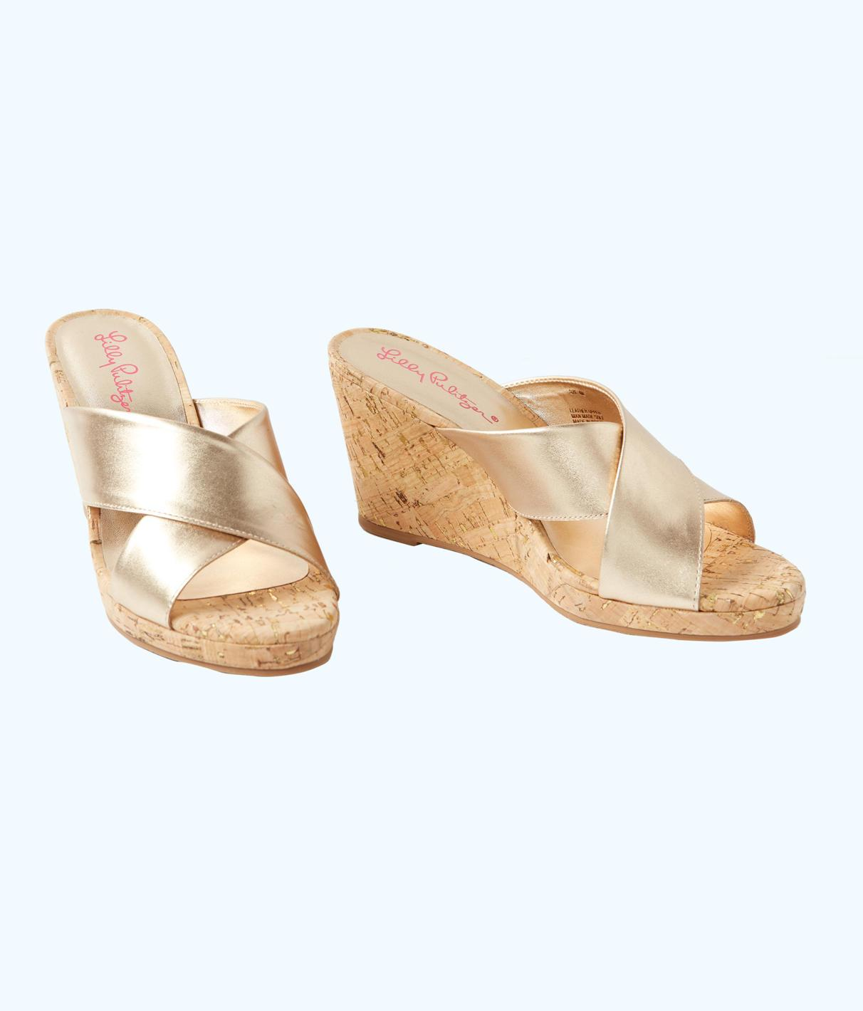 ae16c094ce6 Lilly Pulitzer Selena Slide On Wedge In Gold Metallic