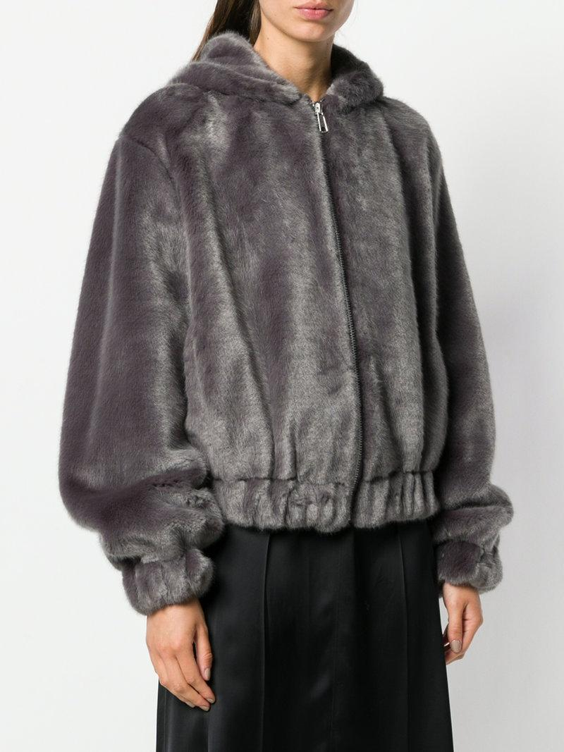 1f1b5909a Helmut Lang Hooded Mink Bomber - Grey in Bu5 Seal