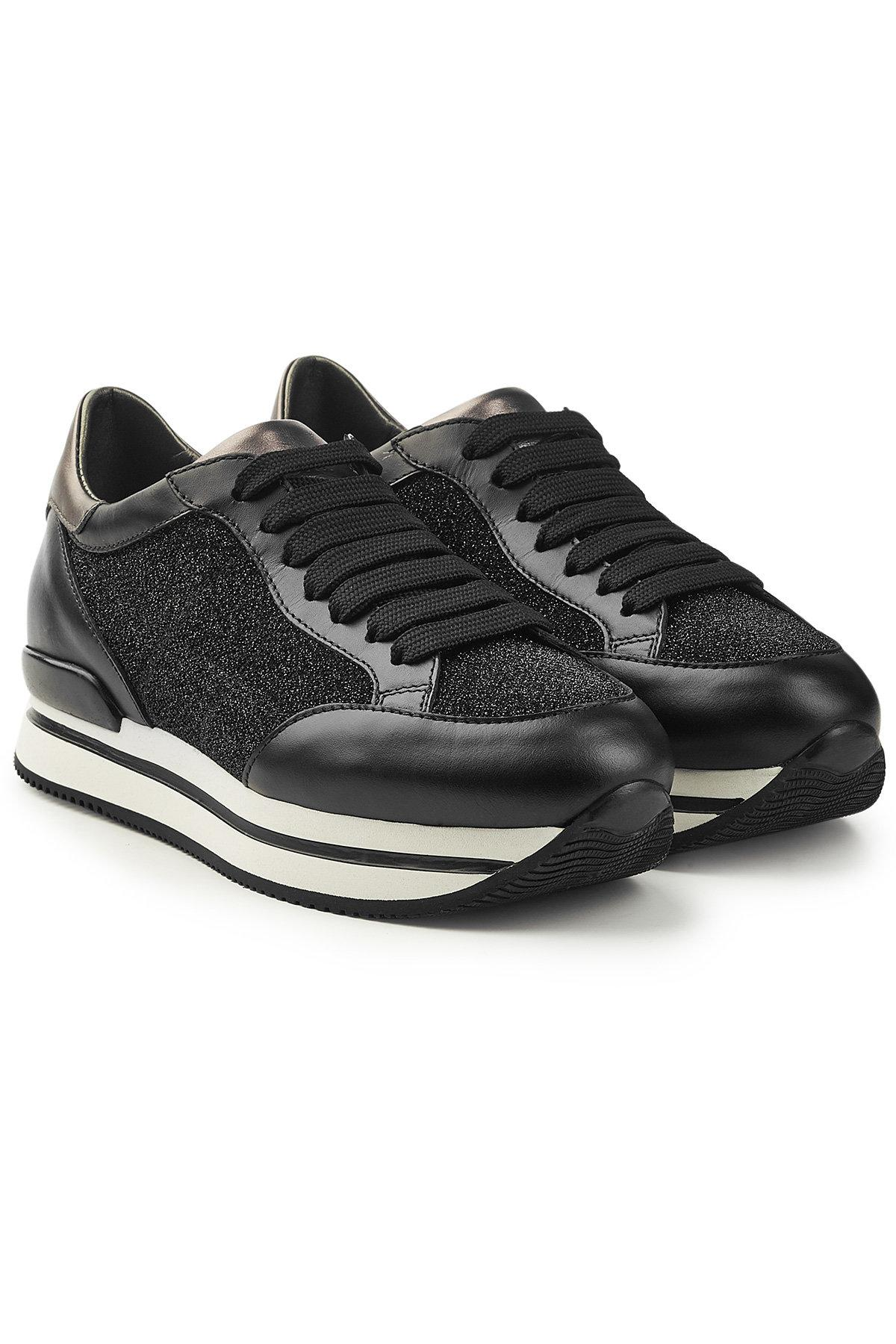 Hogan Leather Platform Sneakers With Glitter In Black   ModeSens