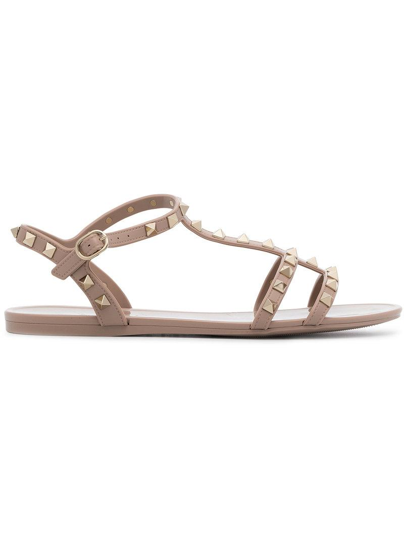 1463d14bac83 Valentino Rockstud Flat Rubber Sandal In P45 - Poudre