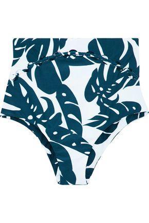 ed1986c87b Mikoh Woman Cutout Printed High-Rise Bikini Briefs Storm Blue | ModeSens