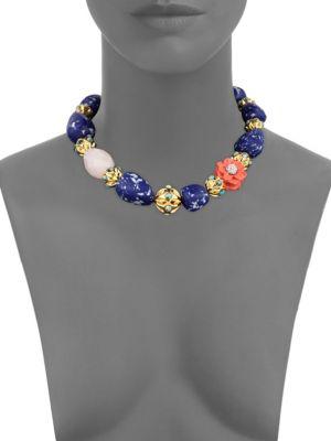 Lele Sadoughi Keepsake Stone Necklace In Rose Quartz