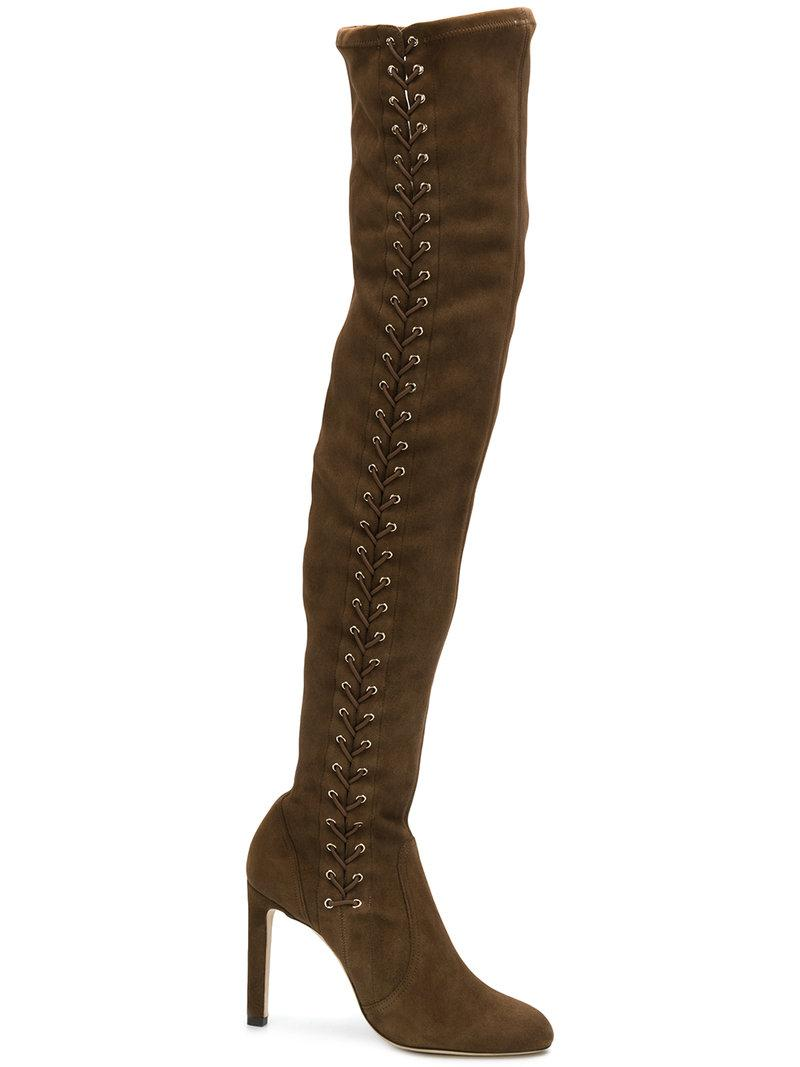 f4abcc6d5c7e Jimmy Choo Marie 100 Stretch-Suede Over-The-Knee Boots In Tan