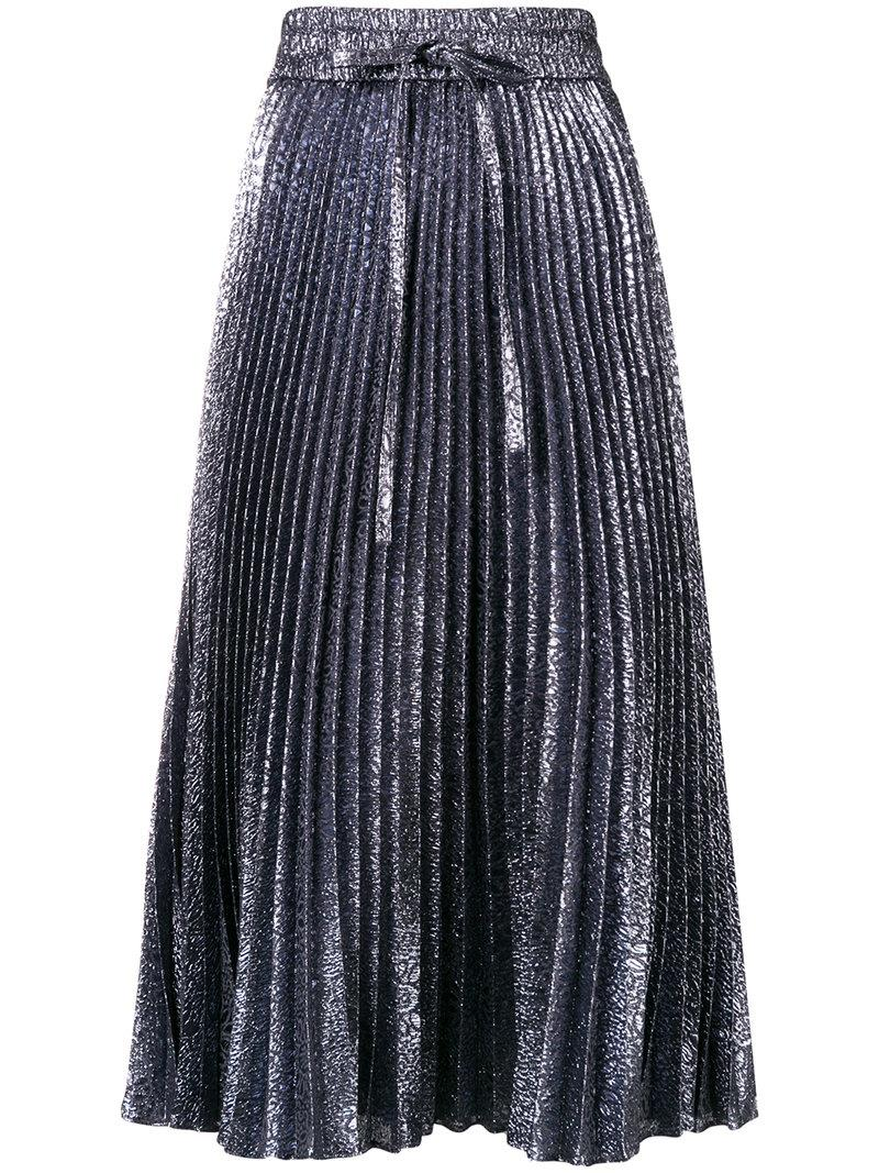 72aac6db3 Red Valentino Cloque Flower-Pleated Midi Skirt In Grey | ModeSens
