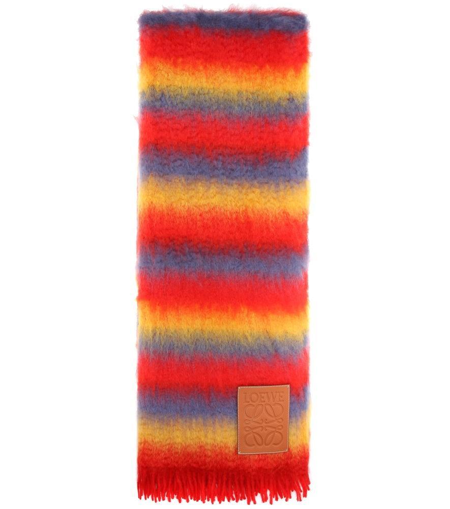 Loewe Wool And Mohair-Blend Scarf In Rainbow