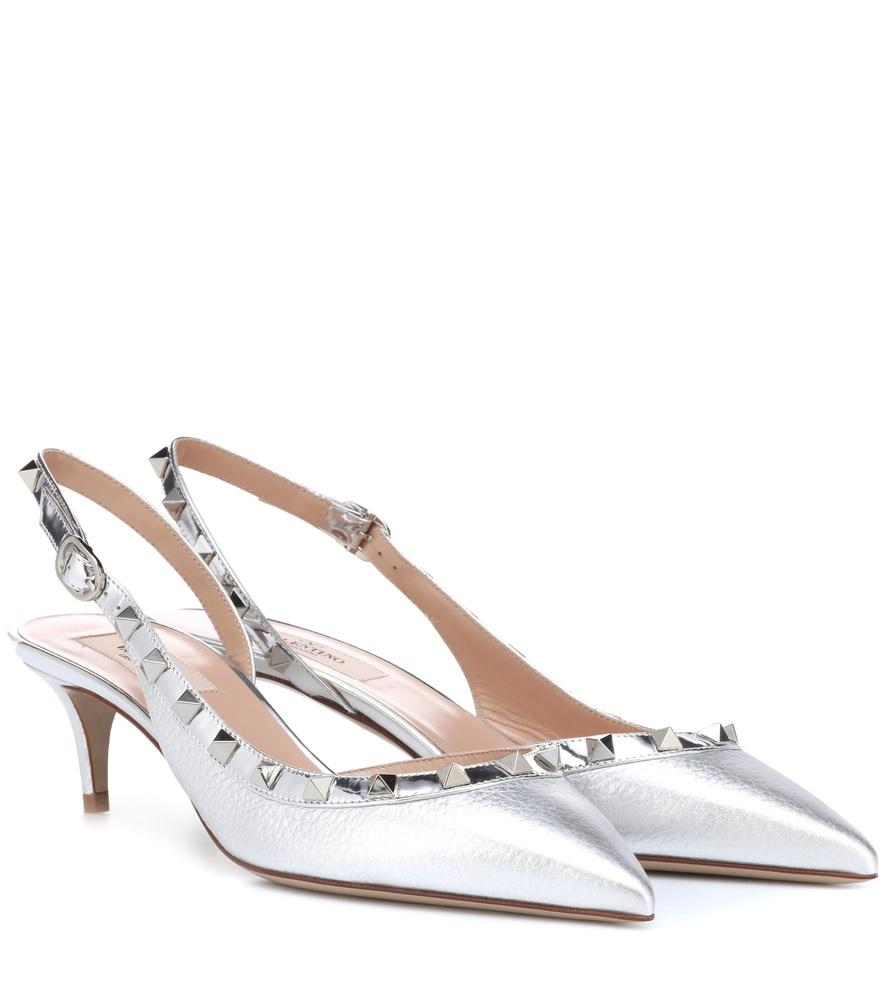 992496ed144 Valentino Garavani Rockstud Leather Slingback Pumps In Silver