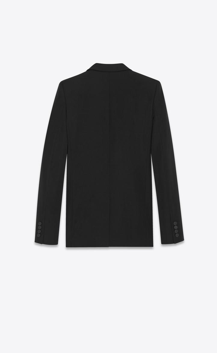 bc45cabf9d4 Saint Laurent Iconic Le Smoking Jacket Single Breasted In Black Grain De  Poudre Virgin Wool