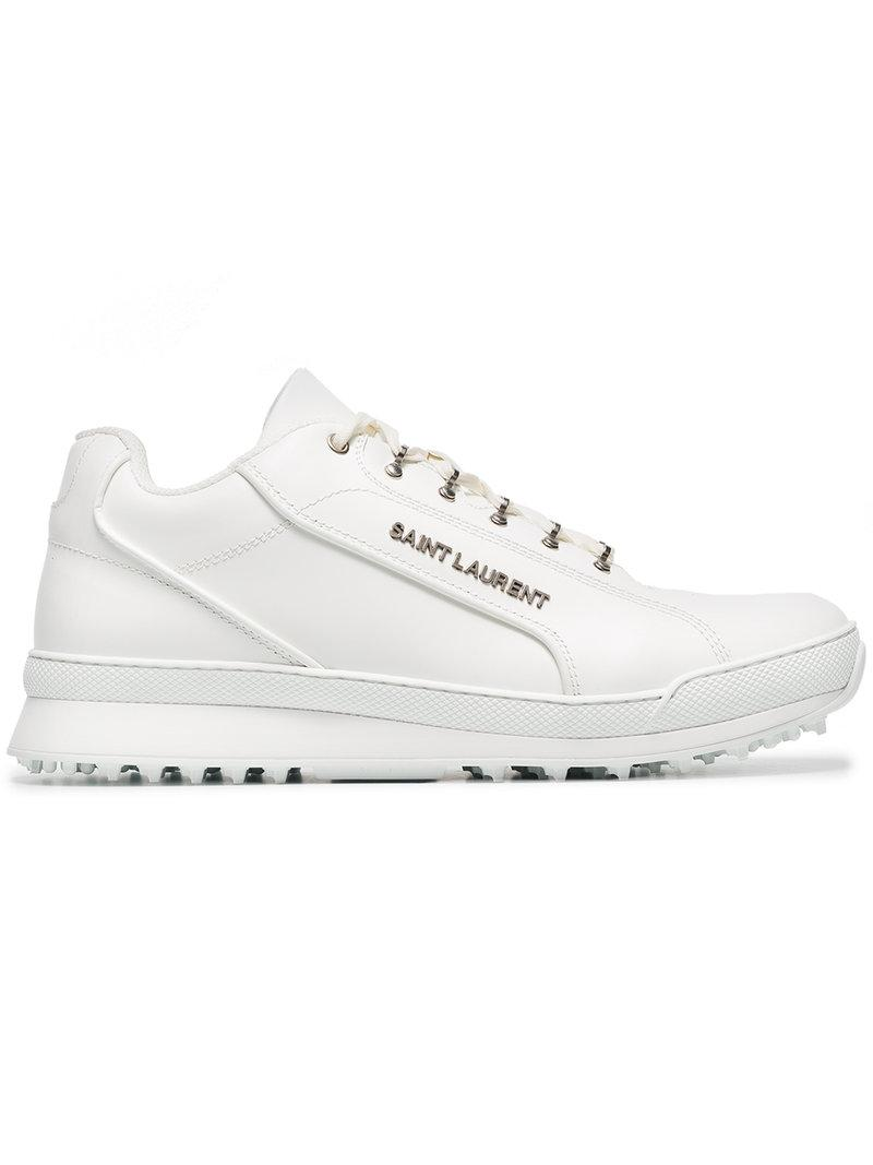 1c798506b40d Saint Laurent Jump White Leather Sneakers With Used Effect. Farfetch