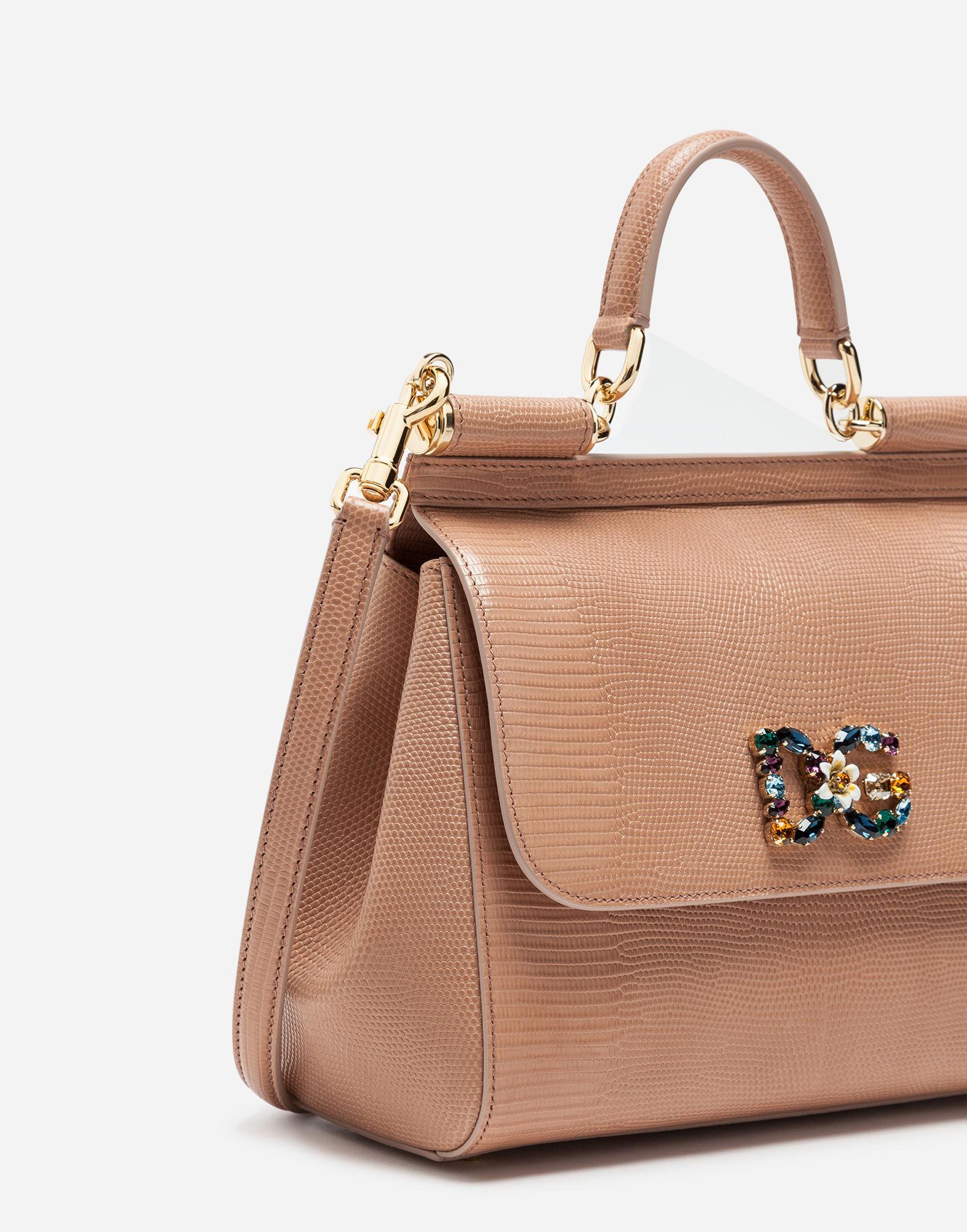 577f7338996c Dolce   Gabbana Medium Calfskin Sicily Bag With Iguana Print And Dg Crystal  Logo Patch In