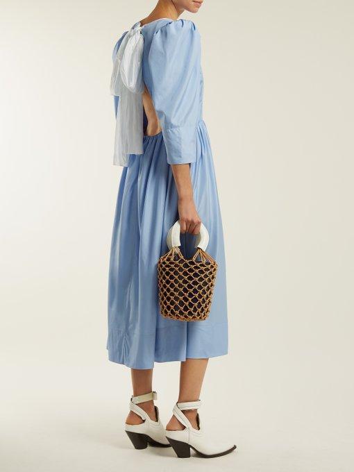 a69b973c3eddc9 Anna October - Tie Back Cut Out Silk Dress - Womens - Light Blue ...