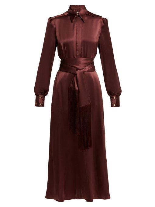 fe3fec4766423 Hillier Bartley Belted Balloon-Sleeve Silk-Satin Dress In Burgundy ...