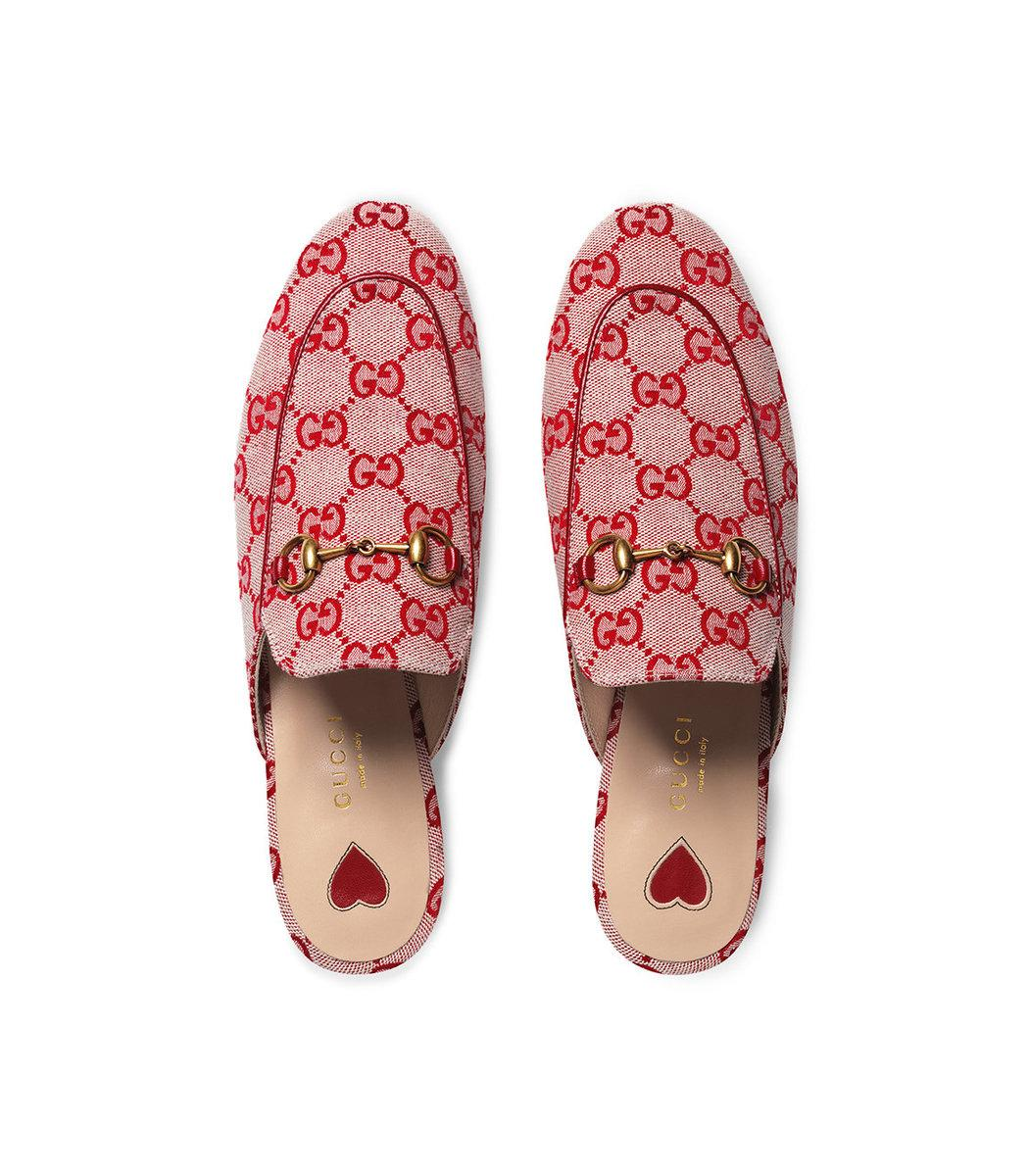 Gucci Princetown Horsebit-Detailed Logo-Woven Canvas Slippers In Neutrals