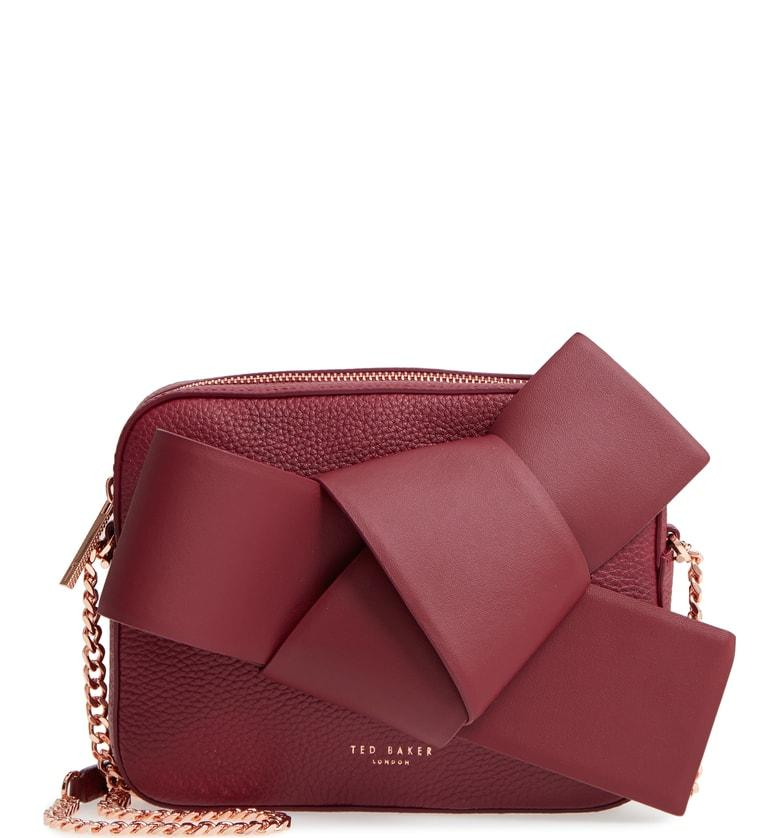 651cba79a Ted Baker Giant Knot Leather Camera Bag - Burgundy In Maroon